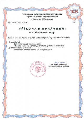 Certifikát TIČR